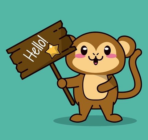 kawaii animal monkey standing with wooden sign hello