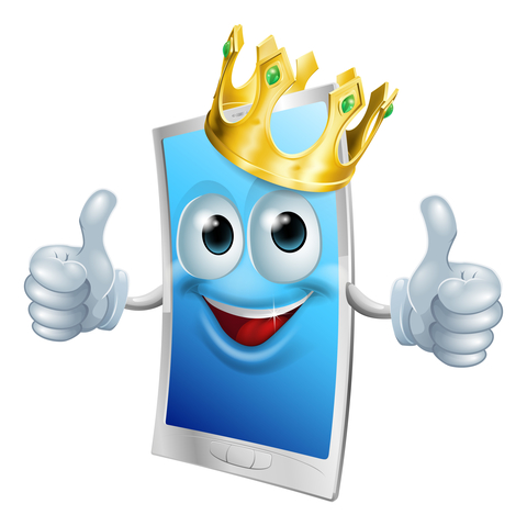 Illustration of a mobile phone king character wearing a gold crown and giving a double thumbs up